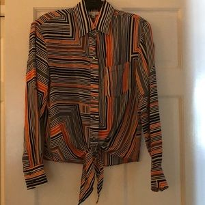 Navy and orange striped blouse